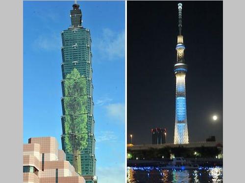台北101(左)と東京スカイツリー