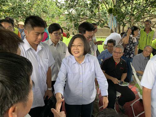南部・台南市のブンタン農家と交流する蔡総統(手前中央)