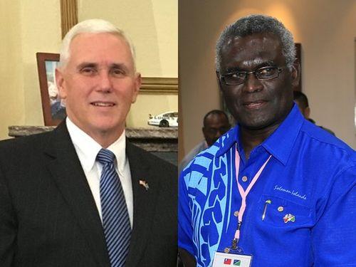 ペンス米副大統領(左)とソロモン諸島のソガバレ首相=左写真は副大統領のフェイスブックページから