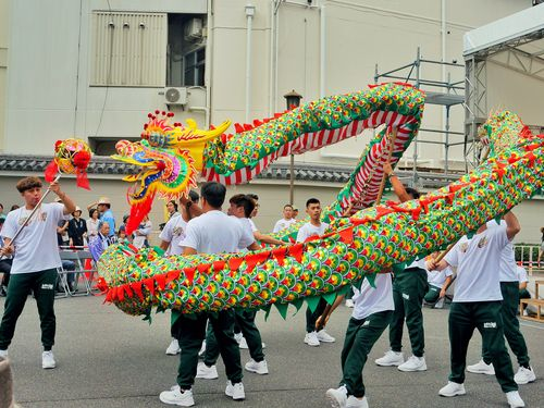 成田伝統芸能まつりに出演した桃園市大渓の龍踊チーム「三層新勝社飛龍団」=桃園市政府秘書処提供