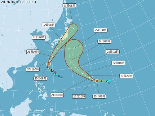 台風20号と21号、台湾に直接の影響なし=中央気象局提供