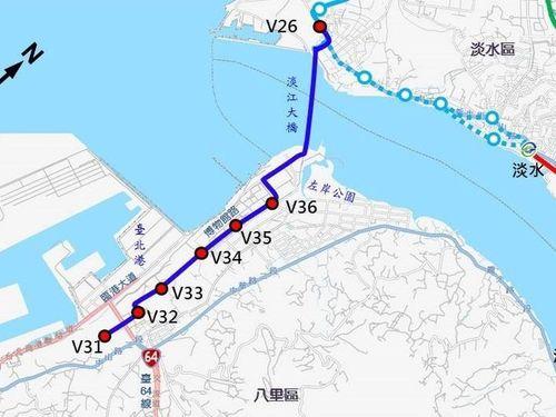 八里ライトレールの計画ルート(紺色の線)。V26は漁人碼頭駅=新北市捷運工程局のHPから