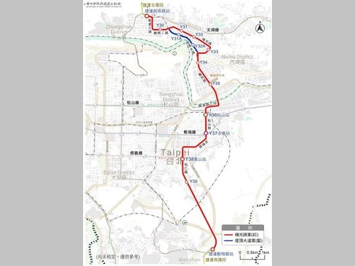 台北メトロ(MRT)環状線の東部分の路線図=台北市捷運局のウェブサイトから