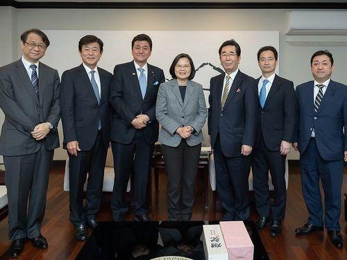 岸信夫衆院議員(左3)一行と面会する蔡英文総統(中央)=総統府提供