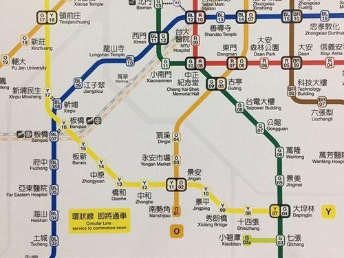 台北メトロ(MRT)環状線第1期区間の路線図(黄色い線)