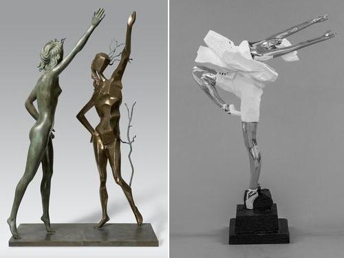 ダリの作品(左)と朱銘の「人間シリーズ・バレエ」=朱銘美術館提供