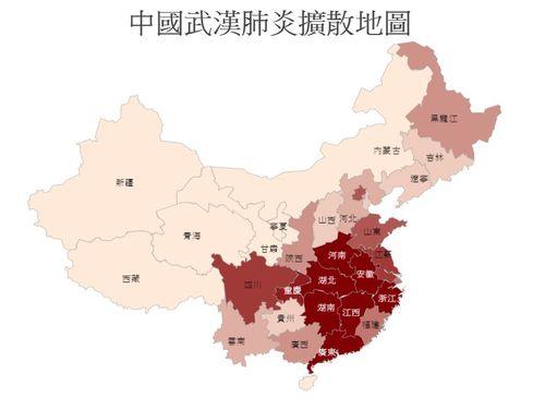 中国各地の新型肺炎の感染状況を示す地図。赤ければ赤いほど感染者が多い