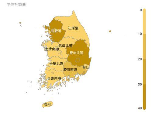 韓国の感染状況マップ