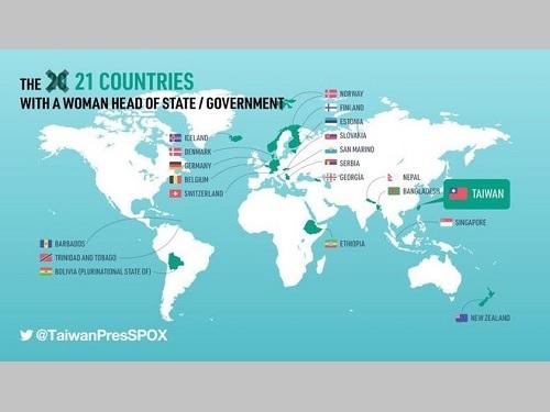 総統府報道官室がUNウィメンの地図をもとに中華民国(台湾)の国旗を加えて21カ国に修正した=報道官室の公式ツイッターより