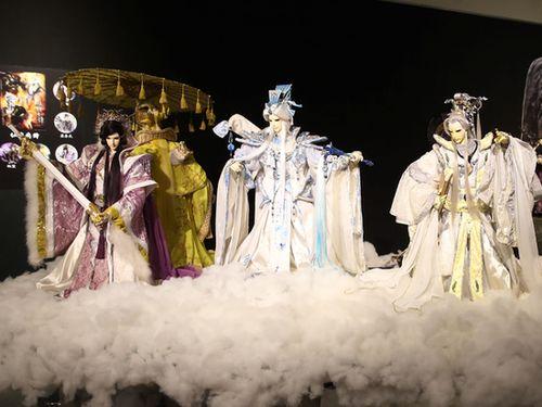 霹靂布袋戯30年の記念イベントで展示される人形=2018年6月29日、台北市