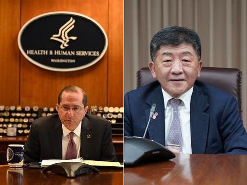 アザー米厚生長官(左)と陳衛生福利部長=同部提供