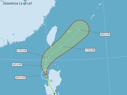 台風1号台湾に接近 中央気象局、海上台風警報発令=同局提供