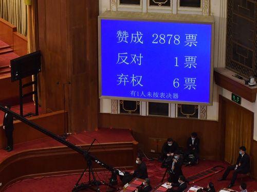28日の中国・全人代で香港版国家安全法の制定方針が採択された=AFP通信提供