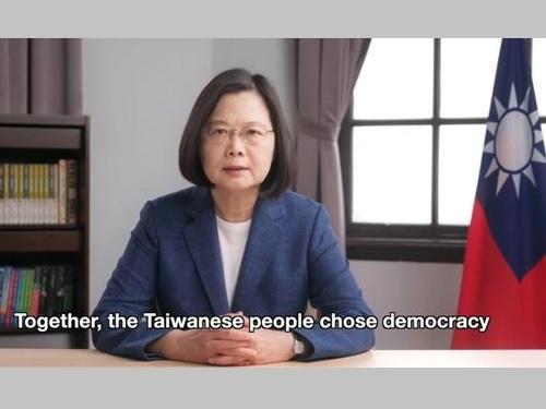 民主主義国家の協力深化を訴える蔡総統=総統府の公式YouTubeチャンネルから