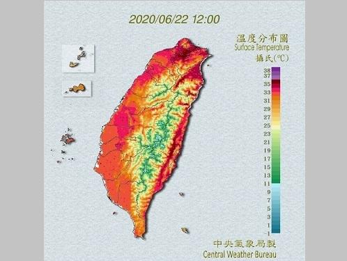 台湾各地の気温分布図=中央気象局提供
