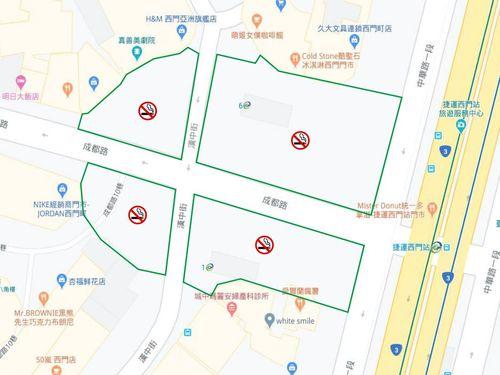台北メトロ西門駅の周辺に設けられる禁煙エリアを示す地図=台北市環境保護局提供
