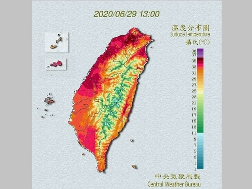 台北、暑かった6月 37度以上と38度以上の日数が観測史上最多=中央気象局提供