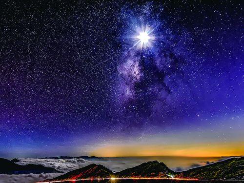合歓山から見る天の川=南投県政府提供