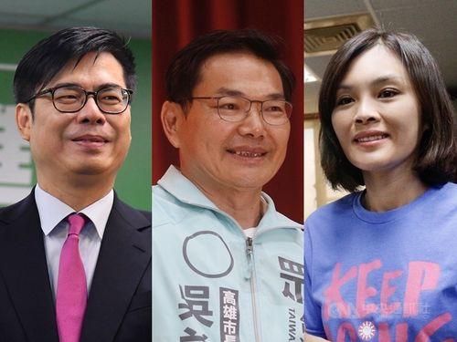 左から民進党・陳其邁氏、台湾民衆党・呉益政氏、国民党・李眉蓁氏