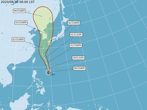 台風9号、31日~9月1日に台湾最接近へ=中央気象局提供
