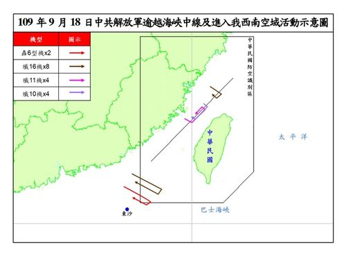 中国軍機の動きを示すイメージ図=国防部提供