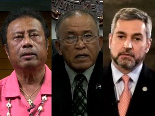 左からパラオのレメンゲサウ大統領、マーシャル諸島のカブア大統領、パラグアイのベニテス大統領=国連のユーチューブチャンネルから