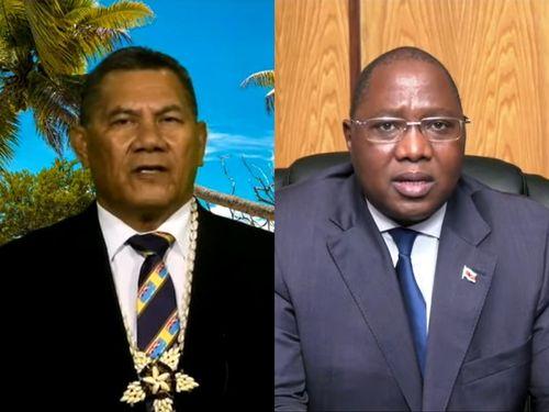 ツバルのナタノ首相(左)とエスワティニのドラミニ首相=国連のユーチューブチャンネルから