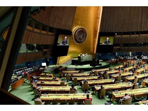 国連本部の総会議場=国連のフェイスブックから
