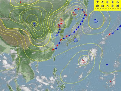 4日午前における台湾付近の予想天気図=中央気象局の公式サイトより