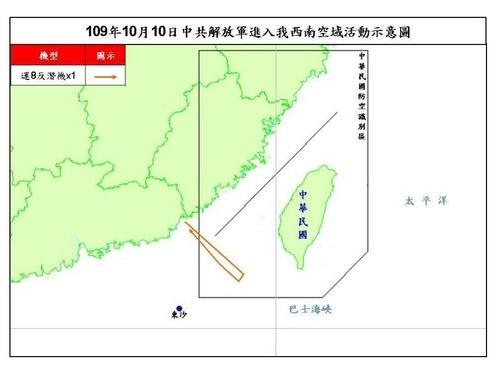 10日の中国軍機の動きを示す図=国防部提供