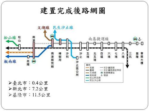 基隆市政府が当初計画していたメトロの路線図(灰色部分)=同市政府提供