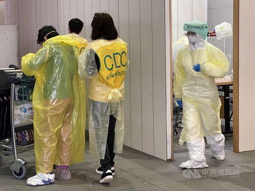 桃園空港での検疫の様子=資料写真