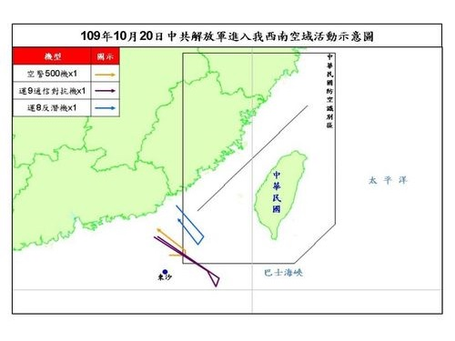中国軍機の飛行ルートを示す図=国防部提供