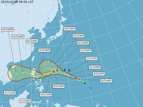 台風19号(左)と同20号の予想進路図=中央気象局提供