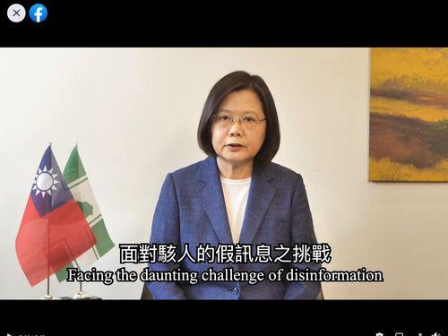 蔡総統、偽情報にも「台湾モデル」で対抗=民進党提供の映像より