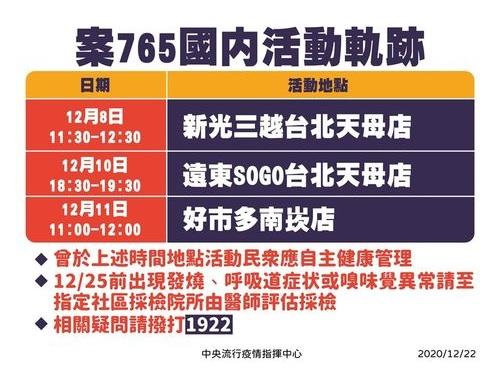 台湾、8カ月ぶりに国内感染例 感染源の男性の活動歴を公表、注意喚起=中央感染症指揮センター提供