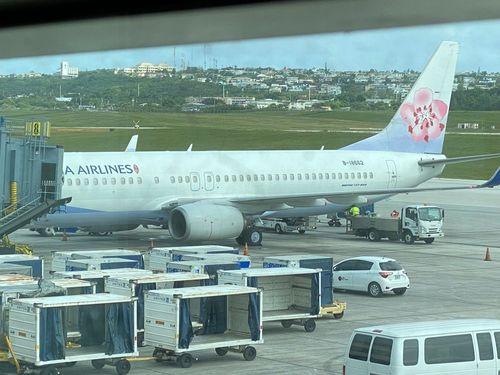 グアム国際空港に到着したチャイナエアライン(中華航空)機(写真=駐グアム台北経済文化弁事処提供)