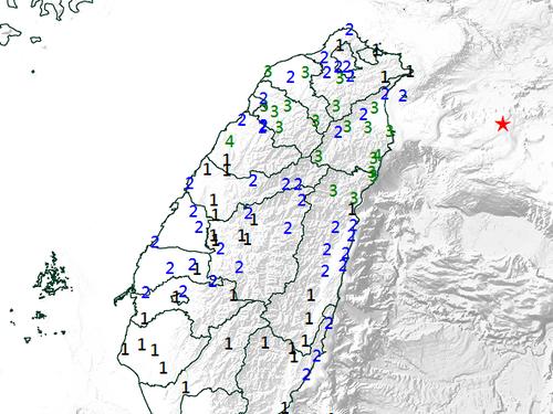 推計震度分布図=中央気象局提供