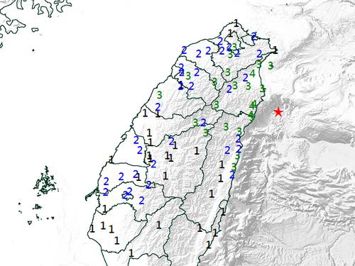 9日午前0時58分にあったM5.7の地震の推計震度分布図=中央気象局提供