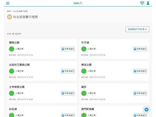 台北市観光伝播局が公開した「台北旅行警戒ランプ」(「台北旅遊網」より)