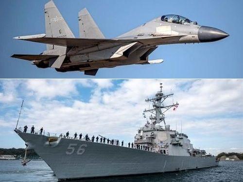 中国軍の殲16戦闘機(上、国防部提供)と米海軍ミサイル駆逐艦「ジョン・S・マケイン」(米第7艦隊のウェブサイトから)
