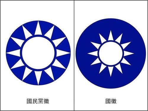 中華民国の国章(右)と国民党の党章=ウィキメディア・コモンズから