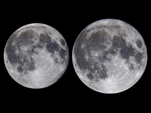2016年に観測された最小の満月(左)とスーパームーン= 台北市立天文科学教育館提供