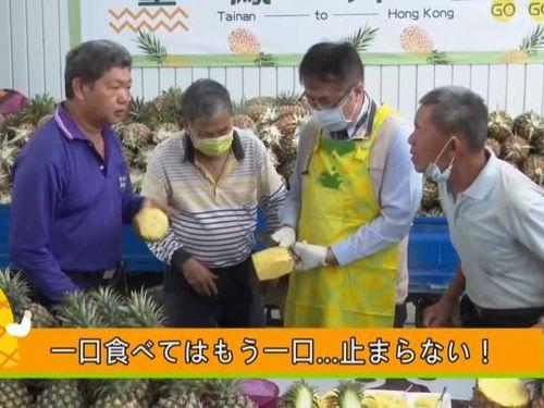 台南産パインのPR動画に出演する黄偉哲市長(右2)=同市政府提供