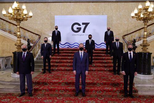 G7外相会合に出席した各国代表=G7のツイッターから