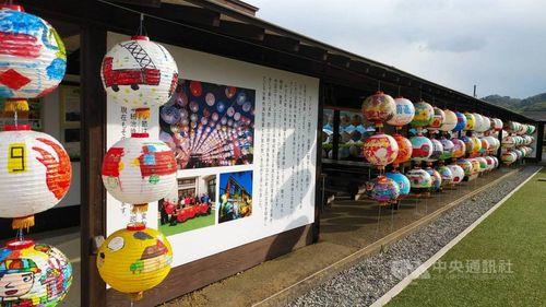 群馬県みなかみ町の観光スポットで展示されている台南市のランタン=同市政府提供
