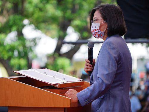 八田與一の追悼式であいさつする蔡英文総統=文化部提供