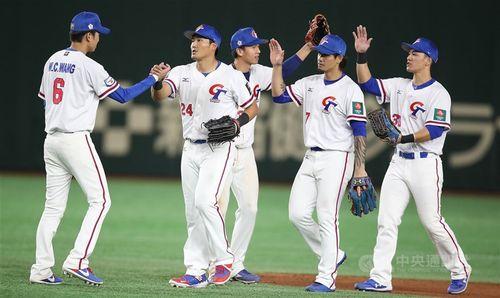 野球のプレミア12に出場した台湾の代表選手=2019年11月16日、東京ドーム