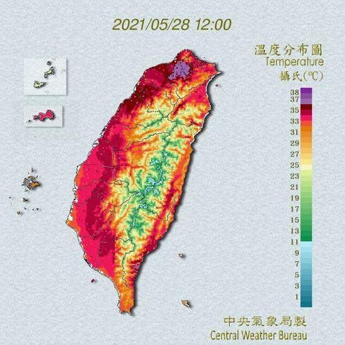 28日午後0時の台湾各地の温度分布図=中央気象局提供