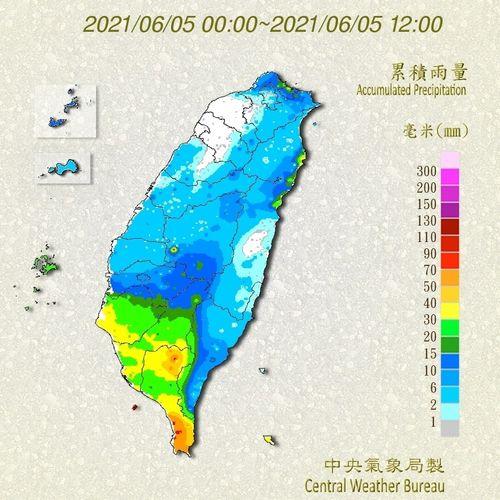台湾の降水状況を示す図=中央気象局提供